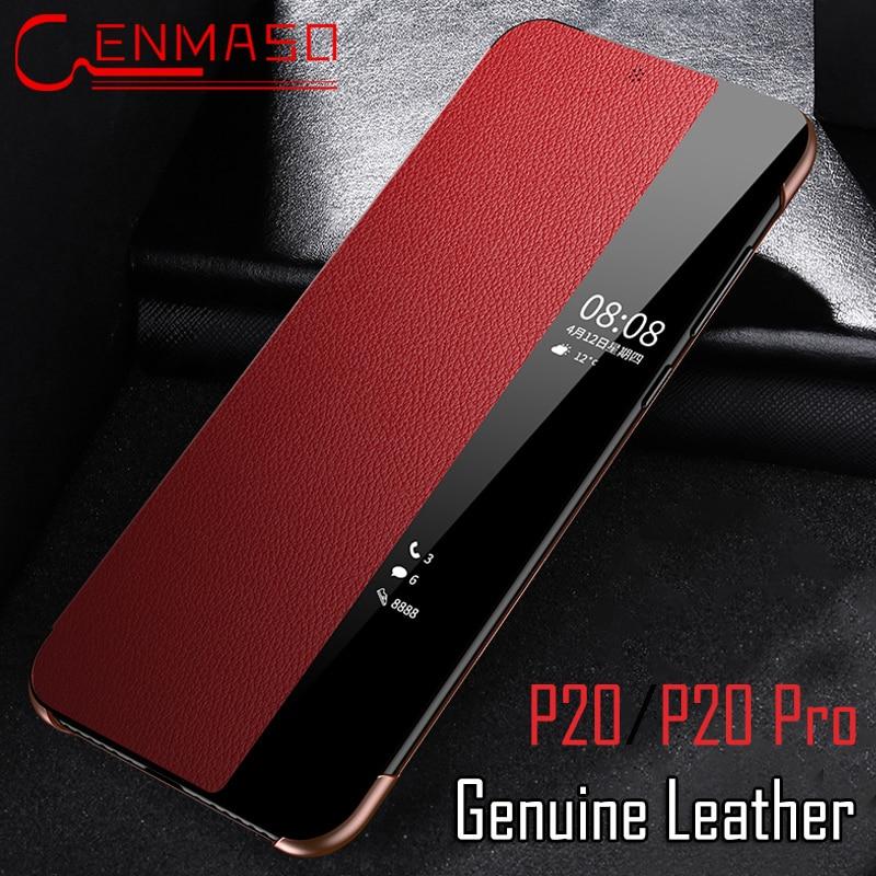 Para Huawei P20 pro caso P20 tampa do caso da aleta Inteligente P20pro Toque em ver janela capa de couro Genuíno Para Huawei P20 pro telefone coque