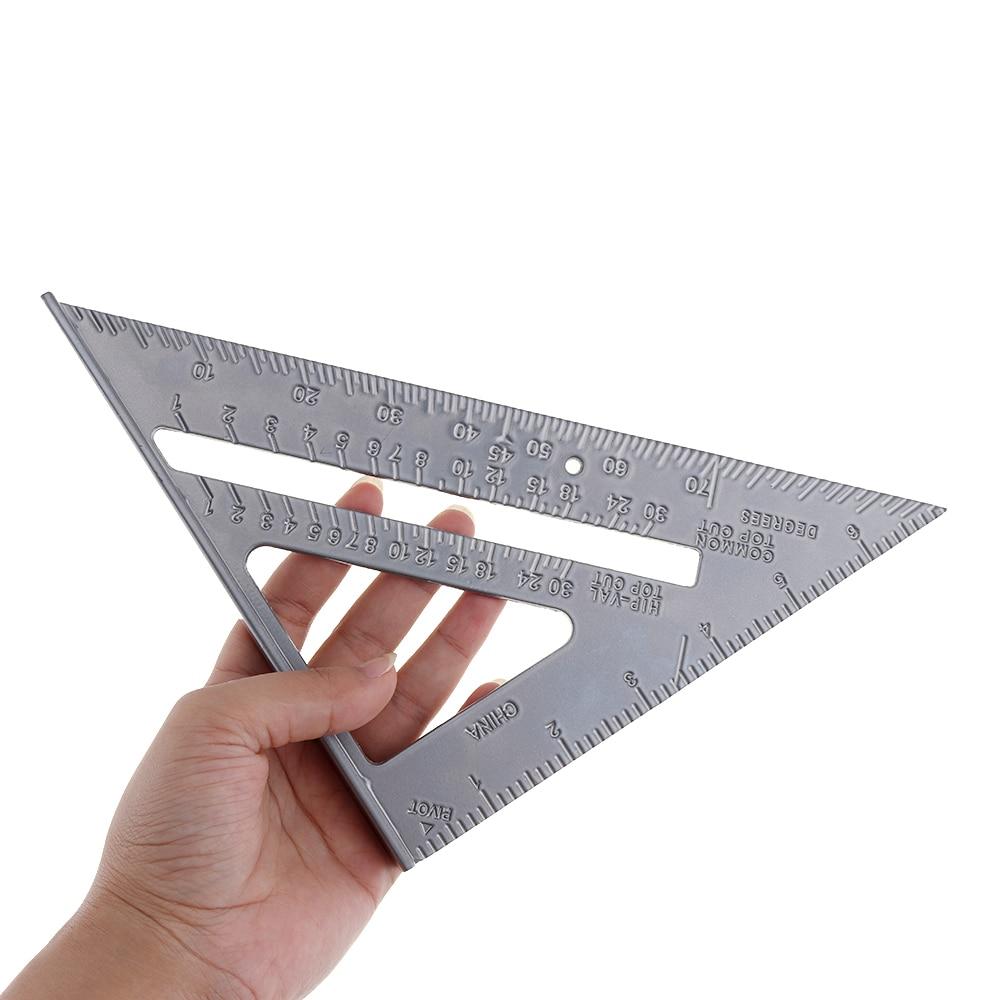 7-дюймовая треугольная линейка с прямым углом из алюминиевого сплава, с точностью 0,1 и 1 шкалой, транспортир, измерительный инструмент для пл...