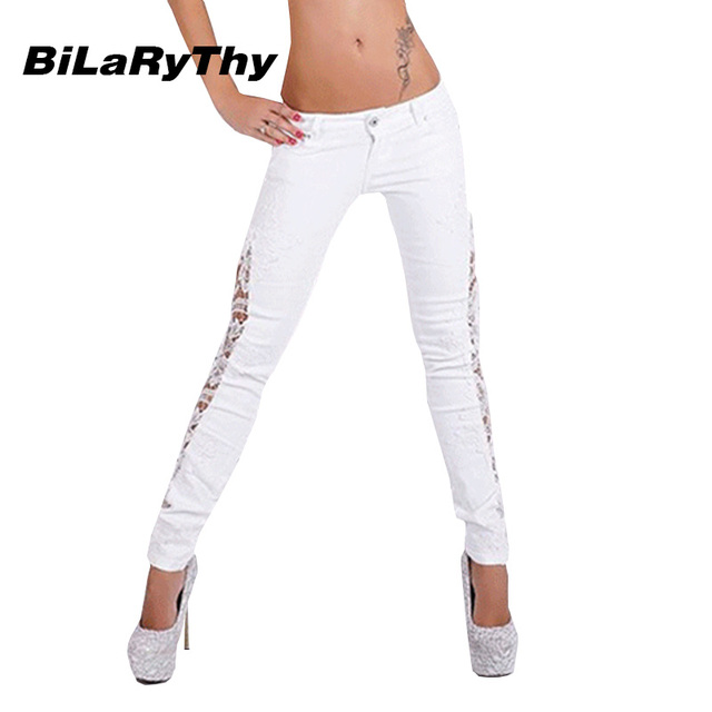 BiLaRyThy Moda Mujeres Blanco Jeans Lace Patchwork Skinny Jeans Cintura Baja Denim Pantalones Lápiz Pantalones