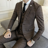 Classic Men's Plaid Striped Suit Jackets Fashion Business Wedding Banquet Groom Dress Jacket Size S 2XL Slim Elegant Male Coat