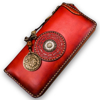 Кожаный кошелек ручной работы мужская длинная сумка на молнии винтажный оригинальный Кошелек Дамская ткань для денег кожаная сумка клатч