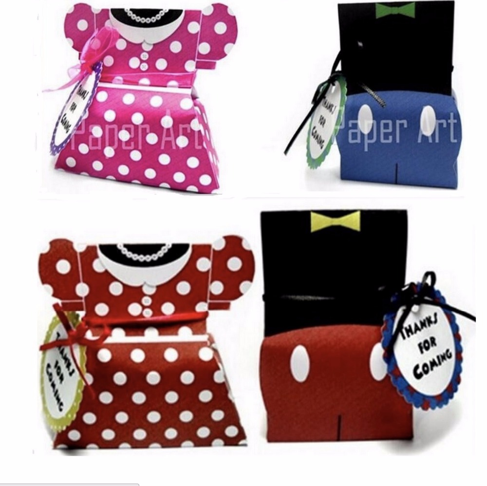 Minnie Mouse Baby Shower Party Favors: 20pcs/lot Lovely Mickey & Minnie Mouse Candy Box Favor