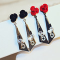 Новое Прибытие Мода Серьги Металла Марка № 5 Длинные Серьги Черный Красная Роза Цветочный Кристалл Ювелирные Изделия для Женщин ERP017