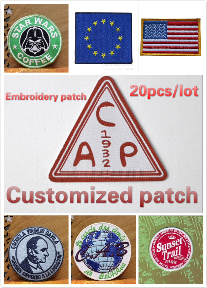 Customized Embroidery Patch iron or sew on back DIY badge fashionable mixed assorted clothing patch Applique garment  MOQ 20pcs