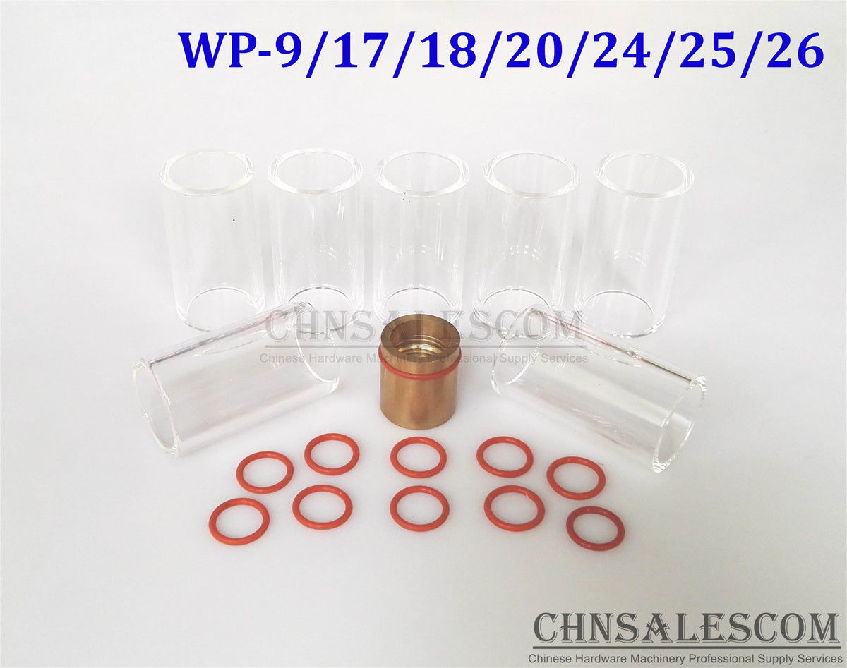 CHNsalescom 9 pcs TIG Welding Stubby Gas Lens #12 Pyrex Cup Kit for Tig WP-17//18//26 .040