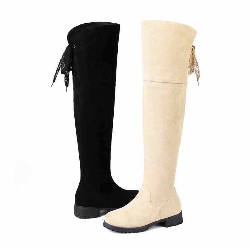 ASUMER 2020 moda diz üstü çizmeler yuvarlak ayak zip akın sonbahar kış çizmeler düşük topuklu ayakkabı çapraz uzun çizmeler kadın