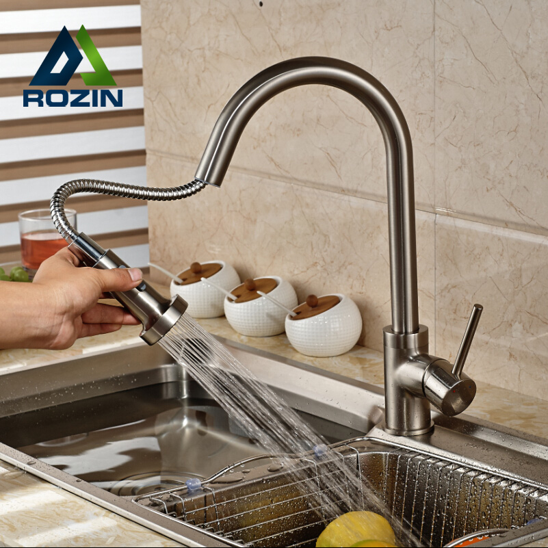ФОТО Single Handle Deck Mount Waterfall Kitchen Sink Mixer Faucet Brushed Nickel Rotation Dual Sprayer Nozzle