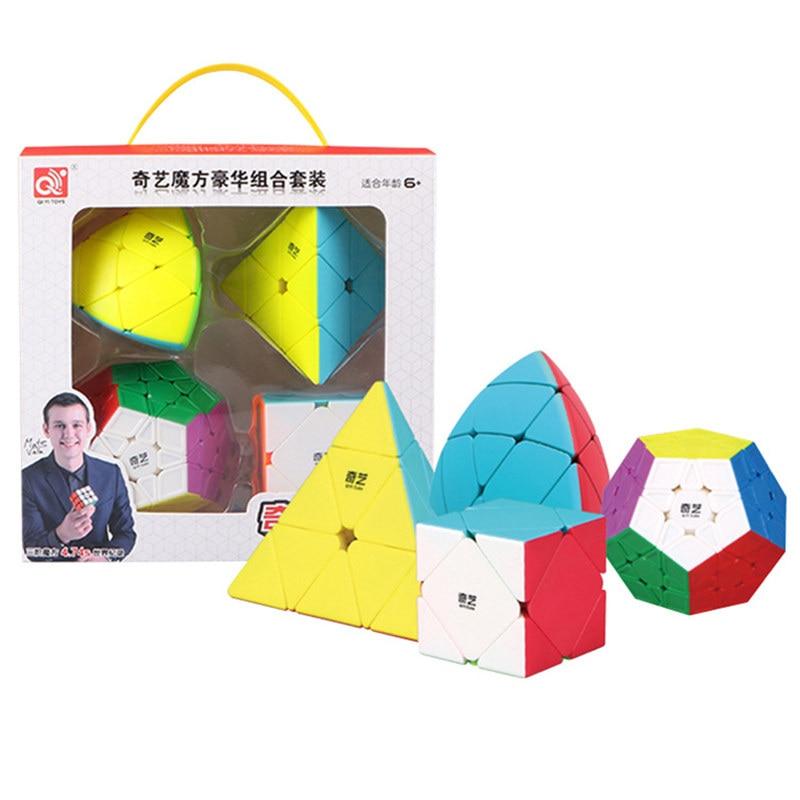 Mofangge 4 pçs/set QiYi Cubo Mágico Conjunto Dom Conjunto 2x2x2/3x3x3/4x4x4/5x5x Megaminx Professional Cubos 5 Engraçado brinquedos do miúdo