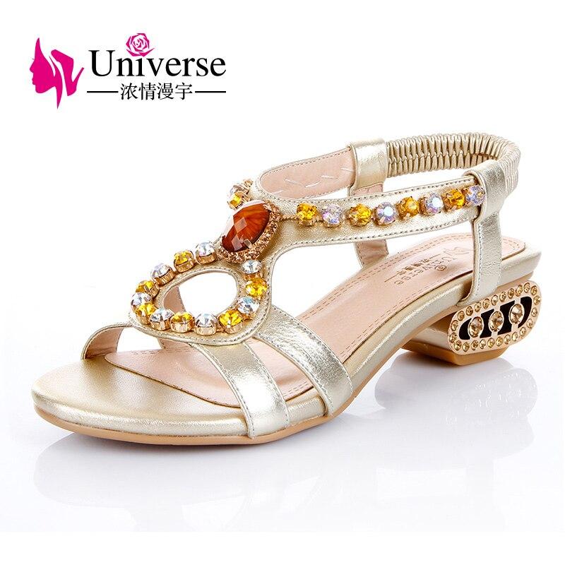 Universe 2018 Hoof Heels Genuine Leather Women Sandals Summer Vintage Rhinestone Woman Flip Flops Beach Women