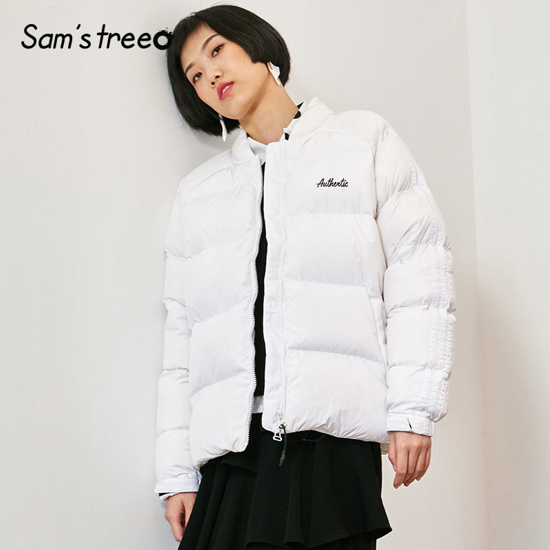 Samstree Women Winter   Down     Coats   Stand Collar White Female   Down   Jackets Zipper Simple Light Short   Coats