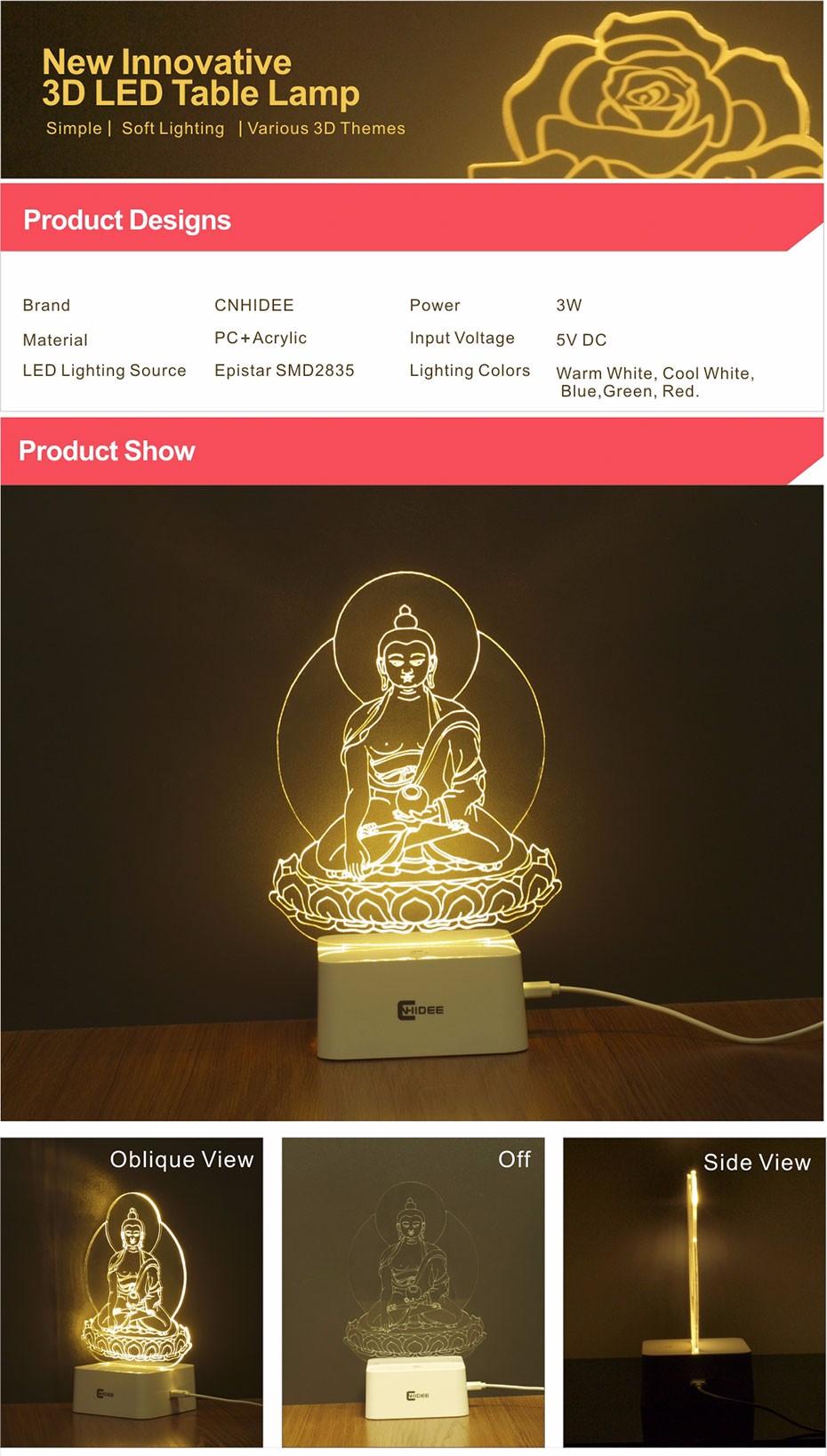 5 Colors Dimmable Night Light Buddha Statue Sakyamuni 3D Led Lamp Table Lampara Desk Night Light  (1)