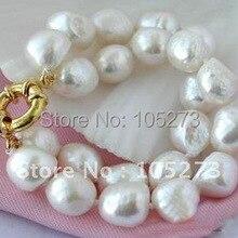 Большой 2 ряда барокко AA10-13MM белый пресноводный жемчуг браслет модные украшения Новинка FN2151A