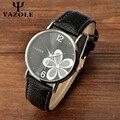 2017 mulheres relógios de quartzo moda relógios yazole flor tiras de couro relógio de pulso das senhoras strass relógio relógio de pulso relogio feminino