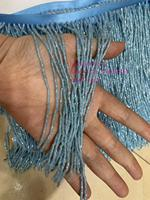 stock 5yards/bag 15 cm sky blue Angle beads tassel ribbon used for fashion design dress stage holiday party decoration YM51#