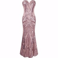 2018 hot sale slim sequined long dress sexy backless graceful strapless party vestido Mermaid dress tq005