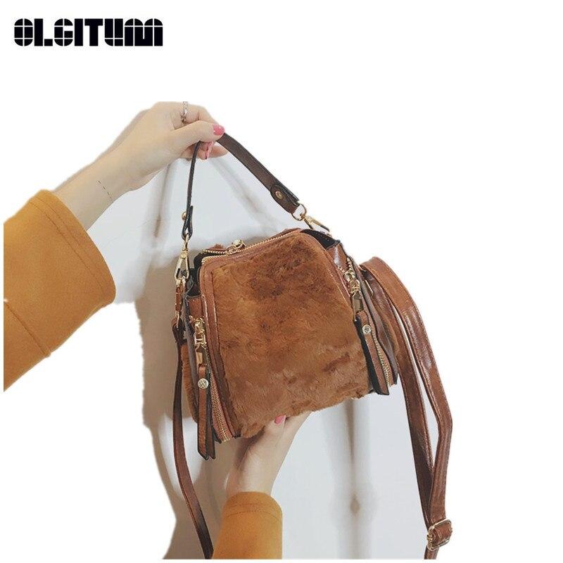 Для женщин сумка Плюшевые простой сумка личности новый модный стиль Для женщин Сумки HB813