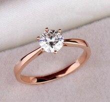 Карат когти алмазный роуз обручальные имитация позолоченные классический кольца женщин для