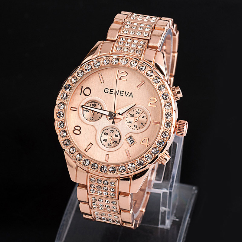 Luxury Brand Geneva Women Watches Fashion Rhinestone Stainless Steel Ladies Quartz Wrist Watch Female Clock Gift Reloj Mujer #W