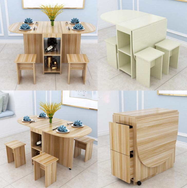 Folding Dining Room Table And Chairs: Household Simplicity Folding Family Dining Room Sets Table