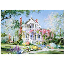 5D DIY round diamond painting house landscape embroidery cross stitch mosaic diamond rhinestone home decoration gift(China)