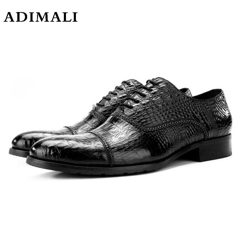 genuine leather mens wedding shoes crocodile style black brown Italian men formal For Men Business портмоне mano business 19008 19008 brown