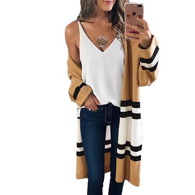 62e99a044019 Long Sleeve Striped Knitted Cardigan Autumn Winter Long Casual Cardigans  Female Coat Loose Outwear Women Sweater WDC1047-in Cardigans from Women s  ...