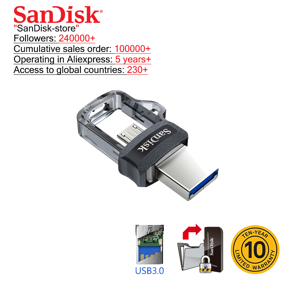 Sandisk Flash-Drive Phone 16GB Usb-3.0 Android 128GB Mini 64GB Dual 32GB 100%Original