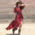 Nuevo 2017 Mujeres Atractivas Del Verano de Boho V-cuello de la Impresión Floral Dividida señoras 3/4 de la manga larga maxi dress casual beach túnica vestidos Vestido