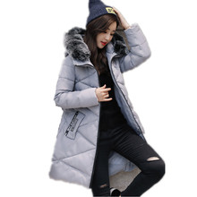 2017 Fashion Long Parkas Winter Warm Cotton Padded Jacket Women Coat Larger Faux Fur Collar Hooded Slim Female Long Overcoat