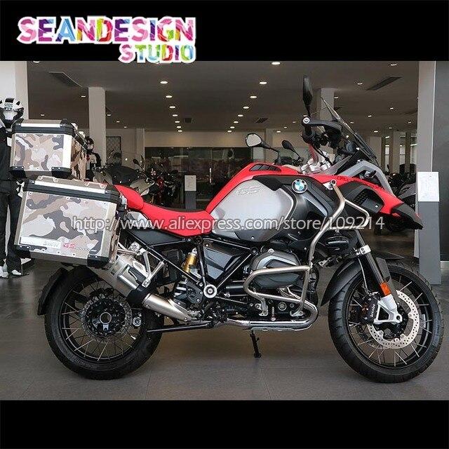 45ee2ee3084 Para BMW F800GS R1200GS ADV vinilo calcomanía Camo moto funda cubierta  calcomanías laterales Set calcomanías impermeables