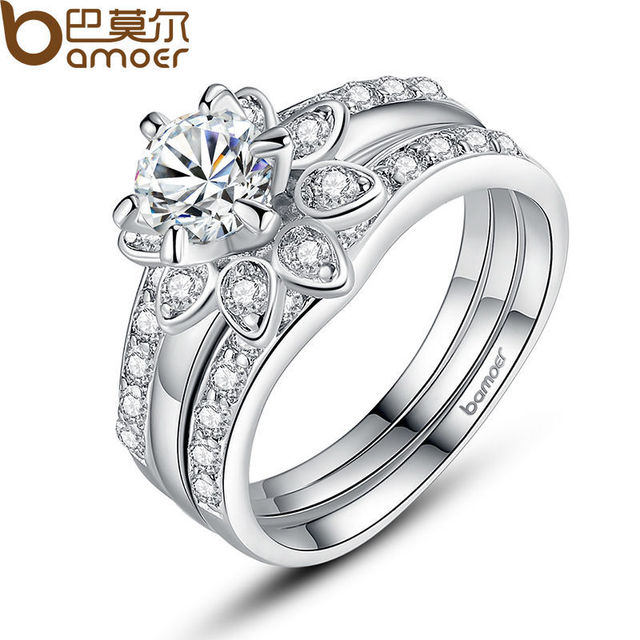 BAMOER Silver Color Couple Flower Ring Bridal Set for Women with AAA Cubic Zirco