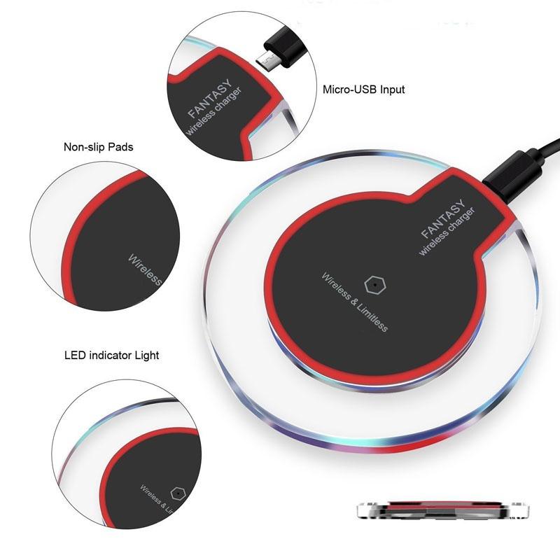 Cargador inalámbrico almohadilla de carga redonda de cristal 5