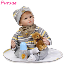 Pursue 22 inch Cute Bebe Doll Reborn Cloth Body Silicone Limbs Reborn Babies Doll Toys for Girls Boys bebe reborn menino 55cm