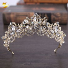 XinYun Baroque Luxury Crystal Bridal Crown Tiaras Light Gold Diadem Tiara for Women Sparking Rhinestone Wedding Hair Accessories
