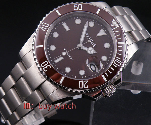 40mm Parnis coffee dial Automatic MIYOTA movement sapphire glass Mens Watch P174 40mm parnis white dial sapphire glass automatic miyota movement mens watch p201