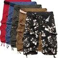 2017 Nueva Moda de Algodón Para Hombre de Carga Shorts Casual Multi-bolsillo de Los Hombres Cortocircuitos de la Playa 5 Colores (Tamaño de Asia)