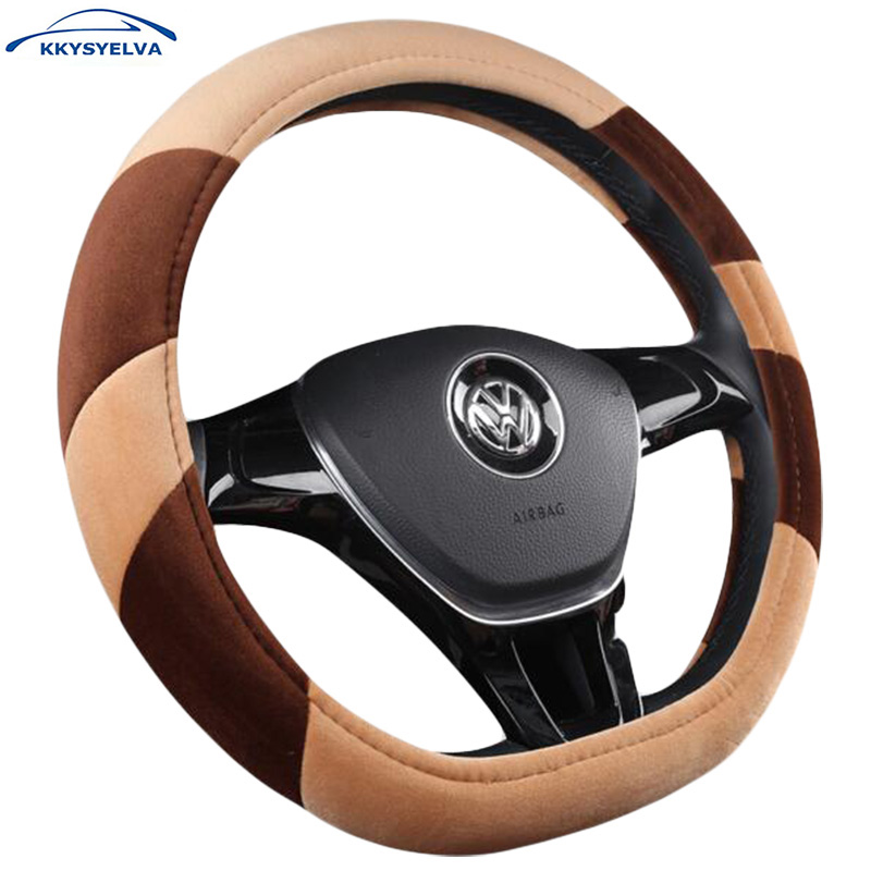KKYSYELVA D Shape 7 Colors Winter Warm Car Steering Wheel Cover for For VW GOLF 7 Auto Interior Accessories Car-Styling