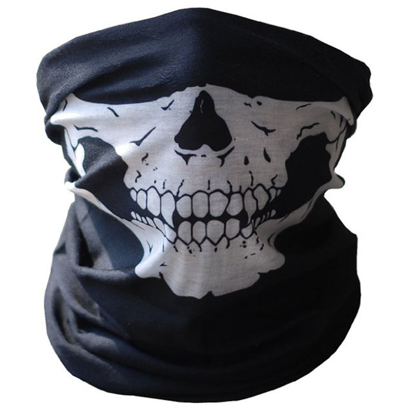 Face Mask Bicycle Ski Skull Half Face Mask Ghost Scarf Multi Use Neck Warmer COD 2017,JULY,5 multi purpose skeleton pattern triangular scarf mask
