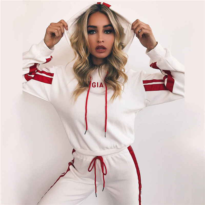 Autumn 2 Piece Trainning Set Women Sportswear Casual White Red Striped Pants Hooded Sweatshirt Fitness Clothing