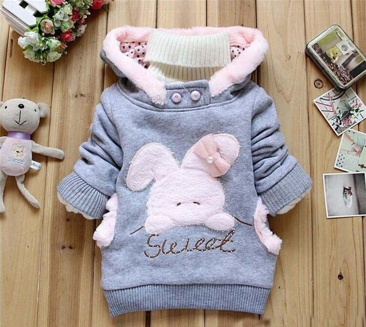 Girls Sweatshirts Hoodies Children Clothing Autumn And Winter Baby girl Thick Cotton Tops Kids Cute Cartoon Rabbit Hooded Coat 7