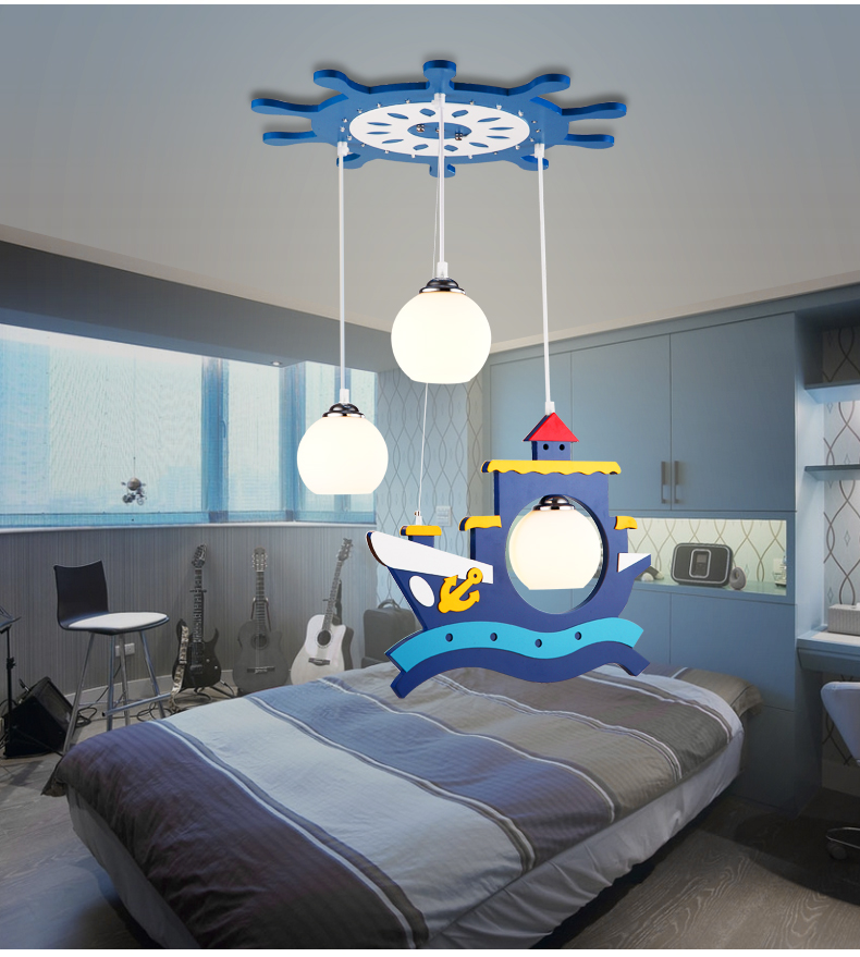 Children toy modern LED pirate ship pendant lights creative cartoon lamp decoration room boys and girls warm bedroom lamp ZA
