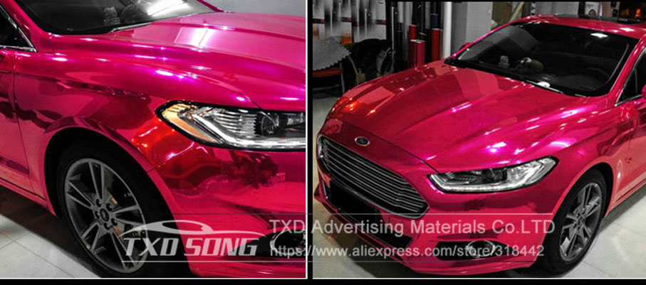 Image 3 - 50CM*1M/2M/3M/4M/5M Roll Car styling High stretchable Mirror Rose Red Chrome Mirror Vinyl Wrap Sheet Roll Film Car Sticker-in Car Stickers from Automobiles & Motorcycles