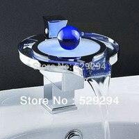 LED Gloeiende Parel waterval Wastafel Kraan. Single handvat Chrome LED Water licht Badrandcombinaties wastafel wastafel Mengkraan voor badkamer.