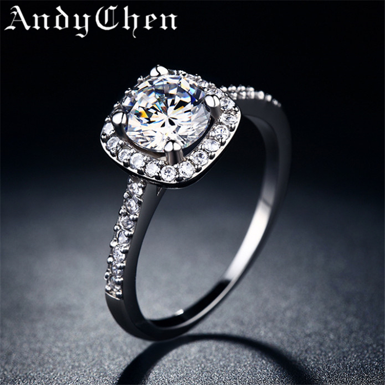 Square Simulated Diamond Silver Plated Wedding Rings for Women