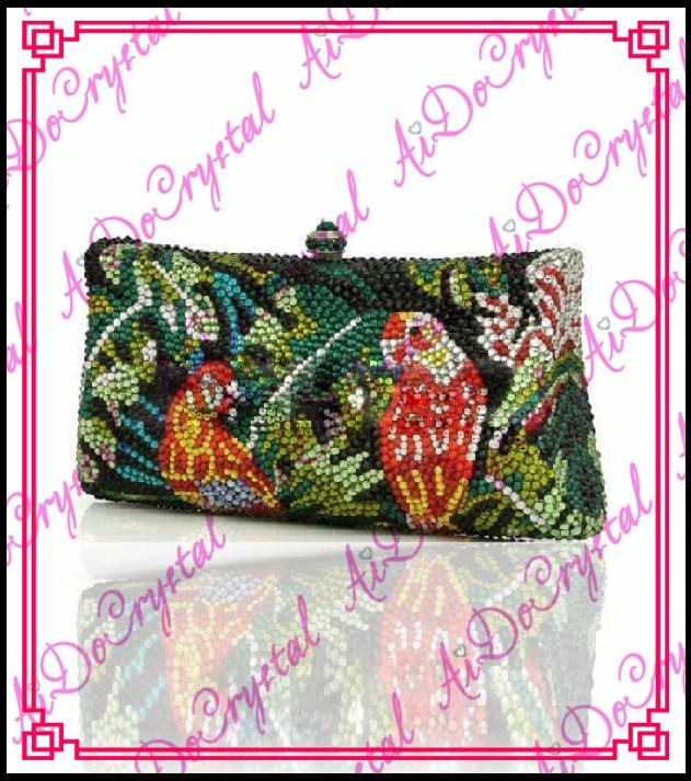 Aidocrystal rhinestone crystal bird pattern green women handbag