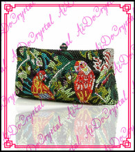 Aidocrystal rhinestone crystal bird pattern green women handbag