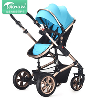 TEKNUM High View Baby Stroller Aluminum Alloy Frame Pram 2 in1 Folding Baby Carriage Shock Proof Trolley Umbrella Baby Car