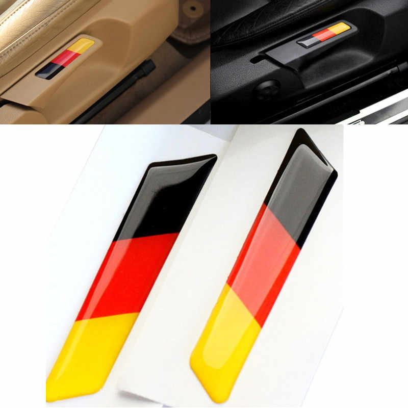 2Pcs Car Styling 3D Sticker Lift Wrench Handle Seat Insert Trim Cover For Volkswagen VW Golf 5 6 MK5 MK6 GTI Germany Flag Emblem