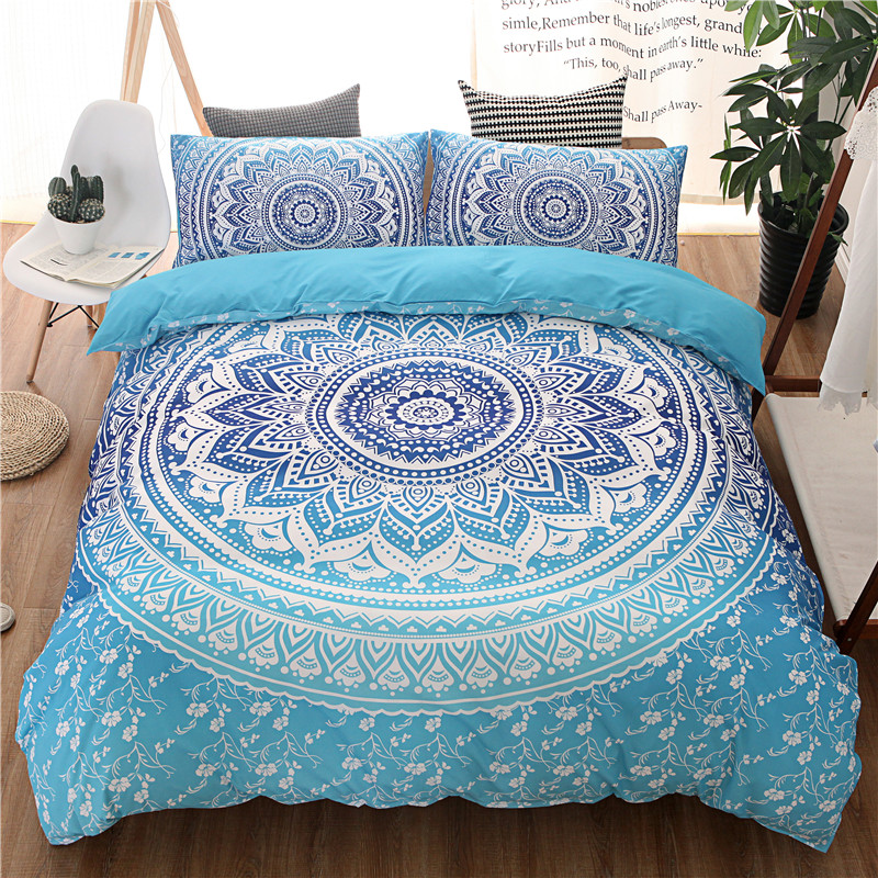 Bohemian Bedding Sets Mandala Printing Black White Boho