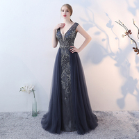 Women Dress Elegant Evening Party Sleeveless Sexy Deep V Neck Long Dress Beaded Decoration Backless Dress Maxi Dress Vestidos